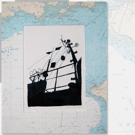 """""""Alouette à l'approche"""" lithographie marine Marion Le Bec"""