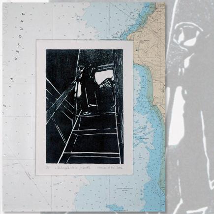 """""""L'échapée de la passerelle"""" lithographie marine Marion Le Bec"""