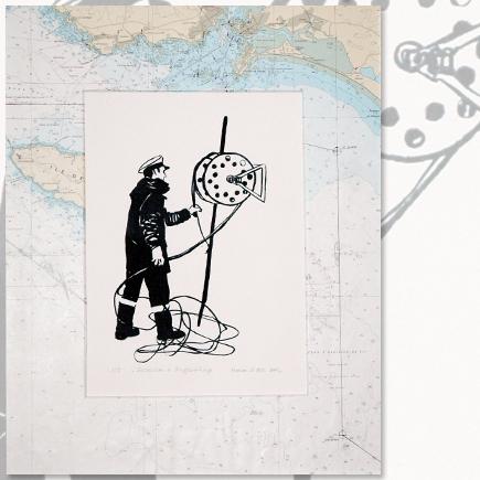 """""""Electricien à l'appareillage"""" lithographie marine Marion Le Bec"""