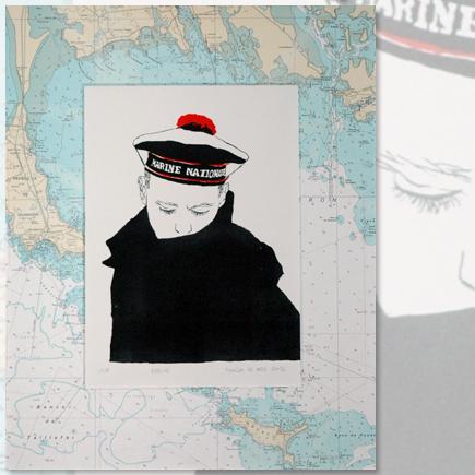 """Elève"" Lithographie marine Marion Le Bec"