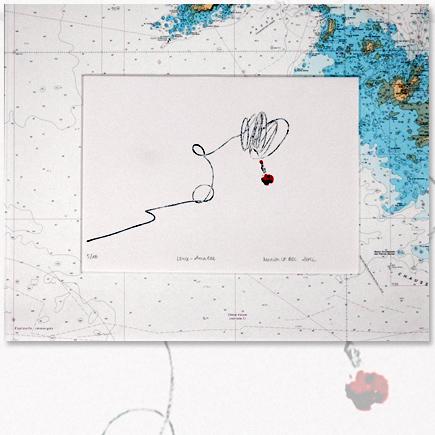 """""""Lance amarre"""" lithographie marine Marion Le Bec"""