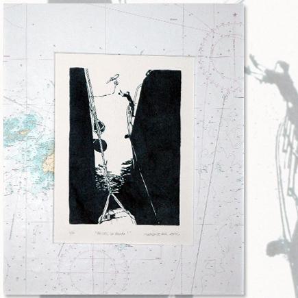 """""""Passez la garde !"""" Lithographie marine Marion Le Bec"""