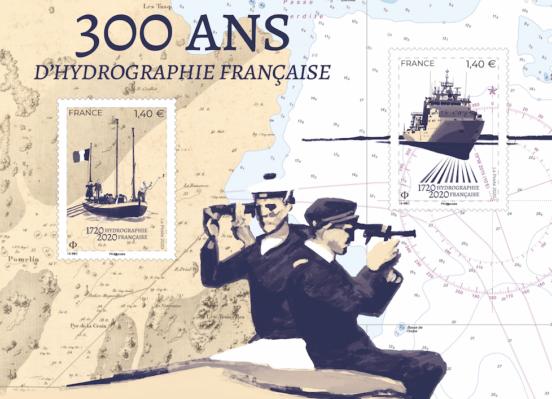 Bloc de timbres 300 ans d'hydrographie française
